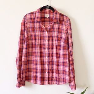 NWT J. Crew Factory Perfect Shirt Suckered Plaid